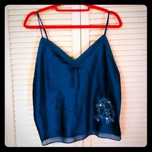 {Boho} teal cami/sleep top w/floral sequin detail